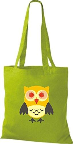 ShirtInStyle Jute Stoffbeutel Bunte Eule niedliche Tragetasche mit Punkte Owl Retro diverse Farbe, schwarz lime