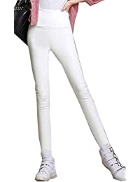 HX fashion Kunstleder Hose Damen Stretch Slim Fit Einfarbig Classic Leder  Lederhosen Warme Wasserdicht Bleistifthose Leggings 45b95c379e