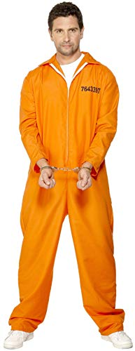 Smiffy's Smiffys-29535L Disfraz de Prisionero huido, con Enterizo, Color Naranja, L - Tamaño 42