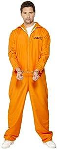Smiffys Disfraz de Prisionero huido, Naranja, con Enterizo