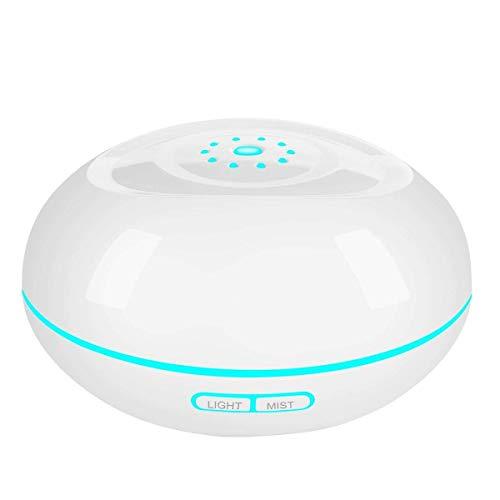 Nebel Diffuseur d'arôme à ultrasons 500 ml Humidificateur Oil Parfums avec 7 couleurs LED Cool brouillard avec arrêt automatique sans eau pour la pièce/le bureau, le yoga/le spa/la maison, blanc