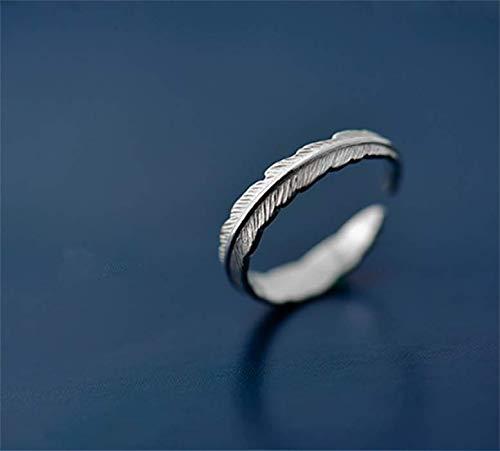 Lxj Ring 925 Silber einfache indische Feder feinen Ring weiblich 16,8 mm