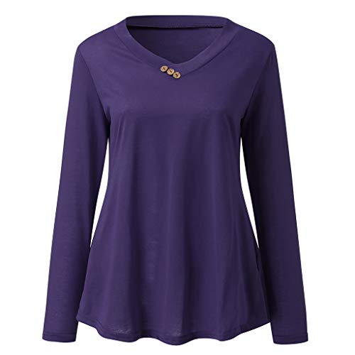 Zegeey Damen Plus Size Long Sleeve Print V-Neck Button Pullover Tops Shirt Bluse Langarm Karneval Fasching Fasnacht Cocktailkleider Partykleid(C1-Lila,EU-42/CN-2XL) -