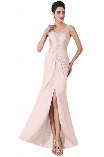 Sunvary scollo a V anteriori laterali Wedding Guest-Gowns Prom vestiti Pink