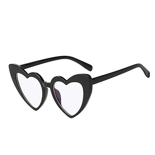 Zbertx Frauen Designer Sonnenbrillen Cat Eye Vintage Shades Sonnenbrille Herz Rahmen Brillen Uv400,Black W Clear Lens