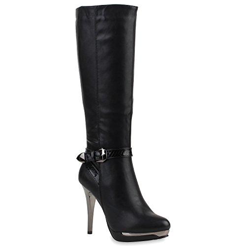 Damen Schuhe Lack Stiefel High Heels Gefüttert Stilettos Schnallen 107379 Schwarz Cabanas 38 Flandell