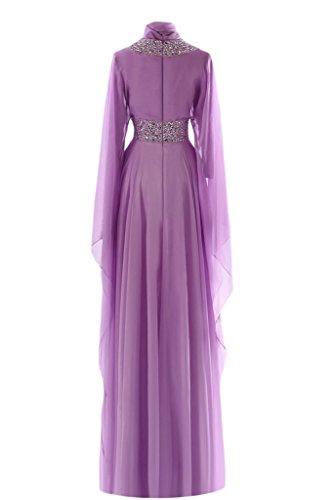 Sunvary A-Line-Maglia A maniche lunghe, collo alto, per abiti da sera, abiti da donna Arancione rosa
