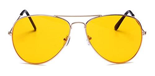 WSKPE Sonnenbrille Aviator Sonnenbrille Brillengestell Piloten Sonnenbrille Frauen Männer Damen Brille Dunkle Gelbe Linse