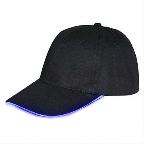 MAOZIJIE Led-Licht Flash Baseball Cap Mode Led Beleuchtet Glow Club Party Schwarz Reise Hut Coole Hip-Hop-Kappe Einstellbar Solide Hut