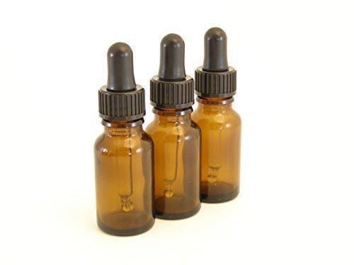 Packung Von 3-0.50 Oz Braunglas Aromatherapie Flaschen (Leer) Mit Schwarzem Gummi-Pipette Dropper Cap