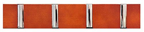 Headbourne 8049E 40,6cm Moderner weiß Holz Hakenleiste/Garderobe mit 4Chrom Flip Haken braun (Rack Traditionellen Coat Holz)