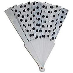 Abanico de lunares negros 22cm plástico blanco–calidad coolminiprix®
