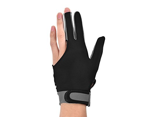 DSstyles 1 Stück 3 Finger Snooker Billard Handschuh Elastische Lycra Handschuh Drei-Finger Man Snooker Pool Billard Queue Glove Frauen Handschuh für Left Right Hand - Größe M – Grau (Queue Welle Billard)