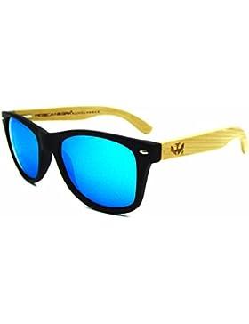 Gafas de madera MOSCA NEGRA modelo MIX SOLID BLACK and ICE BLUE wood sunglasses