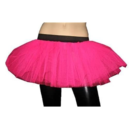 Neon UV 3 Layers Skirt Free Size Fits 6 14 Pink