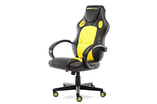 MoMo Design Gaming Chair Bürostuhl Chefsessel GC-002 mit Bluetooth Sound gelb/schwarz