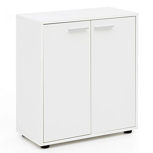 Tür 1 Schublade Konsole Schrank (FineBuy Sideboard FB14673 Weiß 60x70x29,5cm mit 2 Türen Mehrzweckschrank Holz | Flurschrank Hell Modern | Schrank Klein | Anrichte Matt | Kommodenschrank)