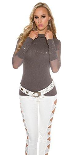 KouCla Rollkragenshirt mit Strass - Rolli Shirt mit transparenten Ärmeln - 7 Farben One Size 2 Anthrazit