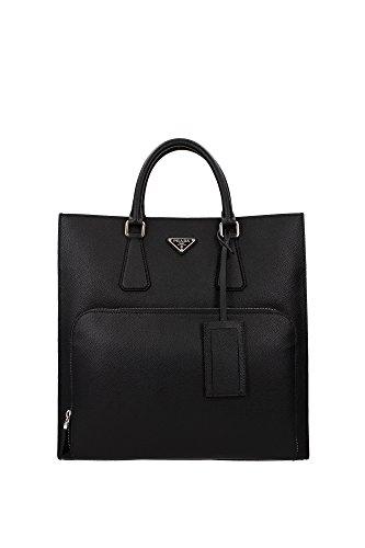 Shopper Taschen Prada Herren Leder Schwarz und Silber 2VG080NERO Schwarz 7x35x35.5 cm (Tasche Prada Leder Schwarze)