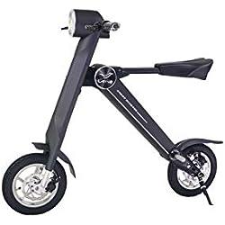 Xiaomu Bicicleta eléctrica Plegable de Aluminio y Peso Ligero de 120 kg, Ruedas de 12 Pulgadas, Motor de Cubo 240W, Altavoces Bluetooth y Pantalla LCD,Black