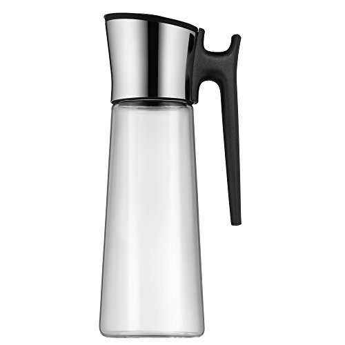 WMF Basic Wasserkaraffe, 1,5l, Höhe 31cm, Glaskaraffe Karaffe CloseUp-Verschluss, schwarz, mit Griff Glas Cromargan Edelstahl rostfrei