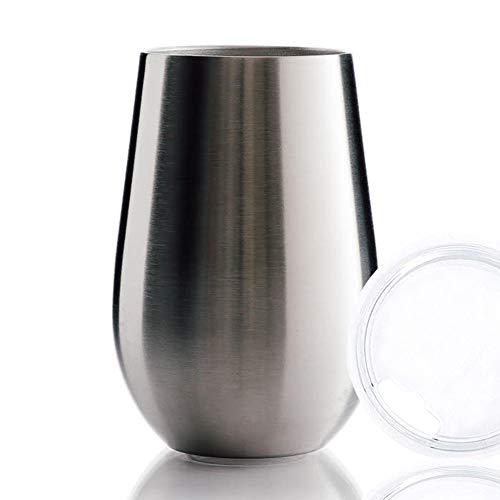 BOHORIA® Premium Edelstahl Isolierbecher | Thermo-Becher | Wein-Glas to go | Cocktail-Glas | Doppelwandig & Vakuumisoliert - (350ml) | Reisebecher mit Deckel für Kaffee, Tee, Bier, Champagner (Silver)