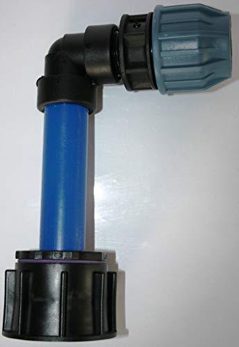 'ame90r84 _ KV Tube d'écoulement avec tube plastique DN32, 100 mm angle AG 1 et 90 ° + adaptateur connecteur de serrage 32 mm, IBC Réservoir Eau de Pluie de Accessoires de conteneurs Mamelon de Bidon