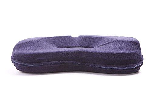 HZJ Luxury Stuhlkissen, 100% Memory Foam, Für Rückenschmerzen Relief Ischias & Steißbein Sitzkissen Orthopädische, Für Home Office Chair Auto Truck Kissen,Blue (Ischias Relief)