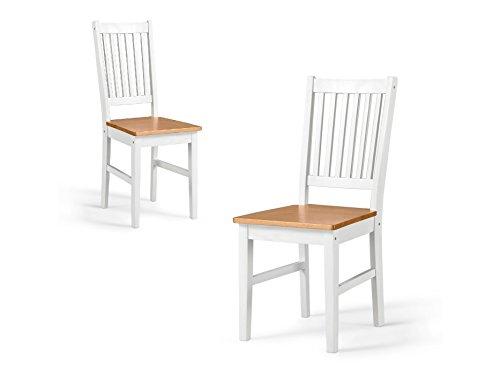 ... Loft24 TAVIAN 2x Stühle Set Küchenstuhl Esszimmerstuhl Stuhl Weiß Küche  Esszimmer Kiefer Holz Massiv Landhausstil ...