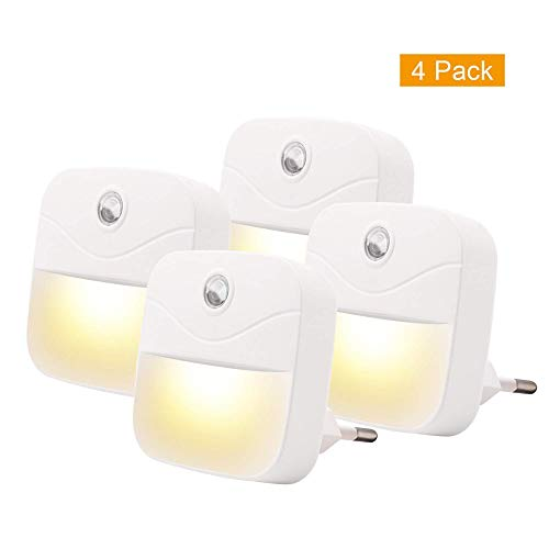 Walmeck- Packung mit 4 Plug-in Wand LED Dämmerungslicht Sensor Nachtlicht Schlafzimmer Badezimmer Küche Flur Treppen Nacht Lampe AC220~240V EU-Stecker