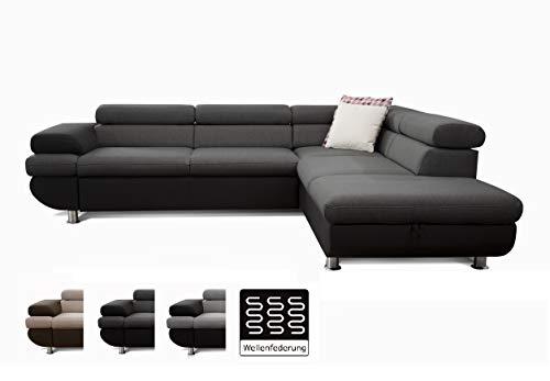 Cavadore Ecksofa Caponelle mit Bett und Bettkasten / Moderne zweifarbige Couch inkl. Kopfstützen / 267 x 72 x 226 cm (BxHxT) / Strukturstoff schwarz - grau