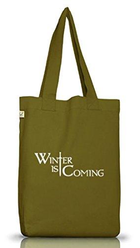 Shirtstreet24, SCHWERT WINTER IS COMING, Jutebeutel Stoff Tasche Earth Positive (ONE SIZE) Leaf Green