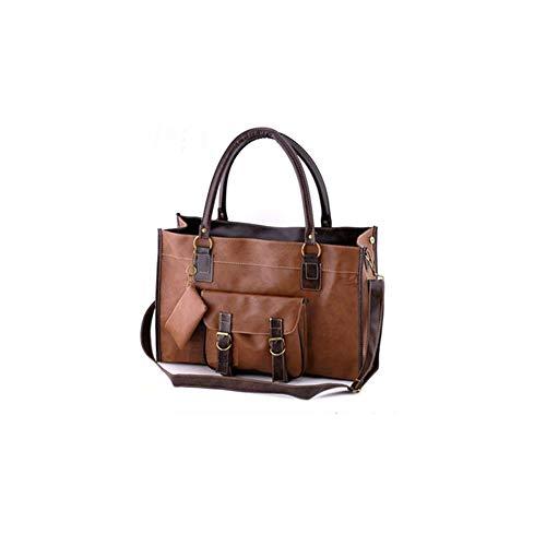 AlwaySky Frauen Handtasche Große Kapazität, Vintage Umhängetasche, Lässige Tote Taschen Weiche PU Leder Crossbody Tasche für Frauen Braun
