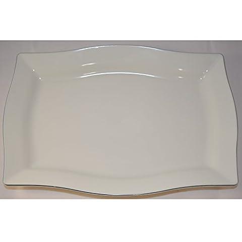 Qualité jetables Assiettes et bols en plastique rectangulaire Crème W/Jante