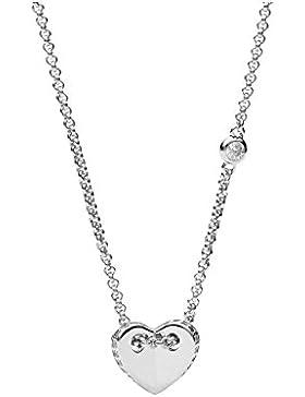 Fossil Silber Damen-Halskette Folded Hearts JFS00425040