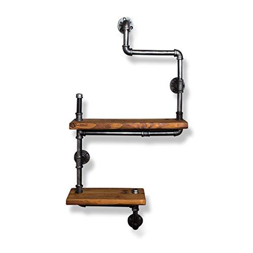 ZHEN GUO Industrieregal-Gestell-Wand Mouned, Temperguss-Eisen-Wasserrohr-Klammer u. Festes Holz-Regal, Retro- Wand-Dekor-Lagerung für Wohnzimmer-Schlafzimmer (Design : 2 Tier) -