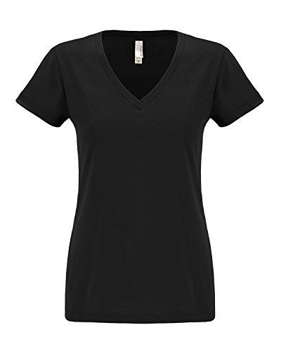 Nächsten level-women Sueded Short Sleeve v-6480 Schwarz - Schwarz