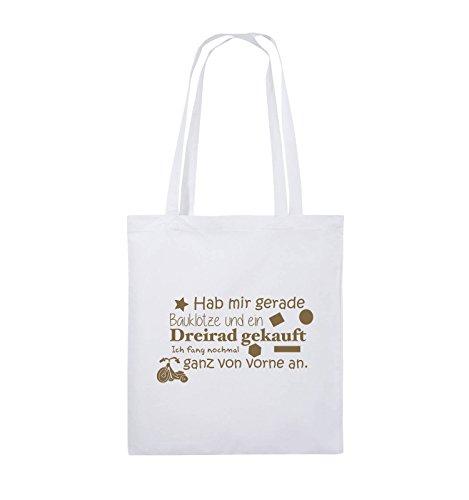 Comedy Bags - Hab mir gerade Bauklötze und ein Dreirad gekauft - Neuanfang - Jutebeutel - lange Henkel - 38x42cm - Farbe: Schwarz / Pink Weiss / Hellbraun