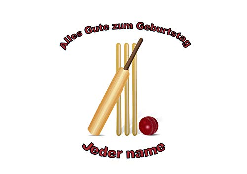 Kricketschläger-Ball-Stümpfe personalisierter Name 8 Zoll runder Zuckerglasurdeckel Cricket Bat Ball Stumps Personalised Name 8 inch round icing topper