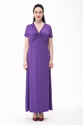 Moollyfox Femme Maxi Robes Longue Manches Courtes,Extensible ,Col V, Robe de Parti Robe de Soirée Violet