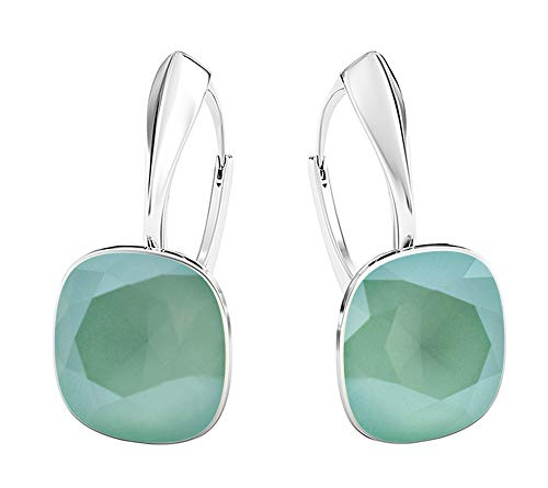 Crystals & Stones NEUHEIT - SQUARE - Tolle Ohrringe - FARBE VARIANTEN !! - Silber 925 Schön Damen Ohrringe mit Kristallen von Swarovski Elements - Wunderbare Ohrringe !! (Mint Green)