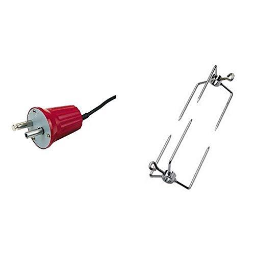 GrillChef 0272 Elektro-Grillmotor für Spiessgarnitur 220 -240 V, Rot + Dancook 130 107 - Fleischklammer