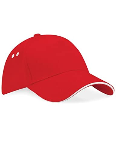Beechfield Unisex Adults Ultimate 5 Panel Cap With Sandwich Peak Clasic Red / White One Size