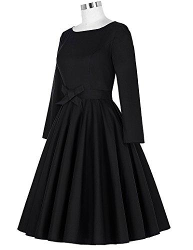 Belle Poque Damen Langarm Kleid Vintage Swing Kleid Partykleid LM192 Schwarz