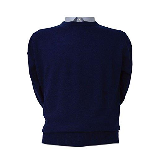 Maglione Uomo Pullover Paricollo Cashmere Lana Merinos Extrafine Iacobellis Made in Italy XL Blu