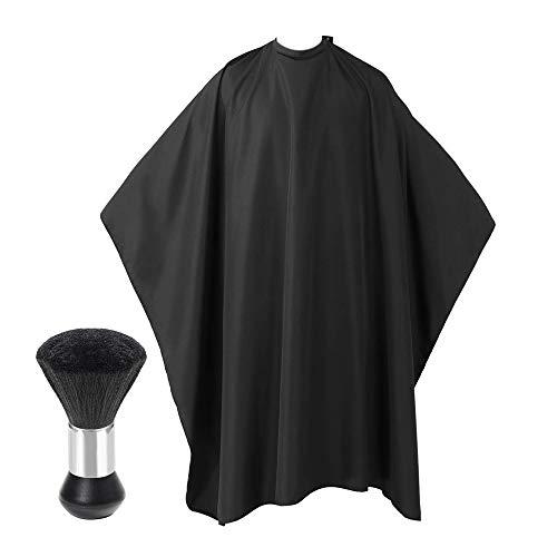 IWILCS Cape de coiffure, châle de beauté avec brosse de barbier, unisexe, noir pour salon de coiffure, barbier, barbier, barbier, barbier et boutique de beauté