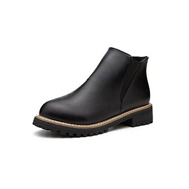 RTRY Scarpe Donna Pu Cadere Combattere Stivali Stivali Tacco Piatto Round Toe Gore Per Casual Black Burgundy US5.5 / EU36 / UK3.5 / CN35