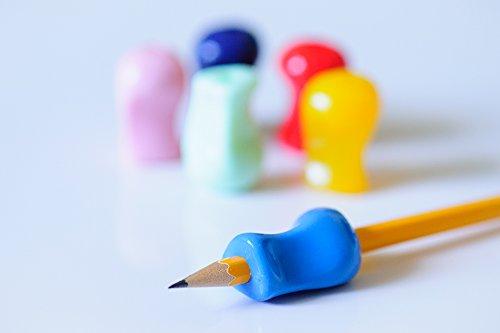 Grips pour crayon - Assortiment de 6 couleurs -Aide ergonomique à l'écriture pour les droitiers et les gauchers - Pour une écriture et un contrôle des couleurs optimaux - Outil idéal pour l'ergothérapie