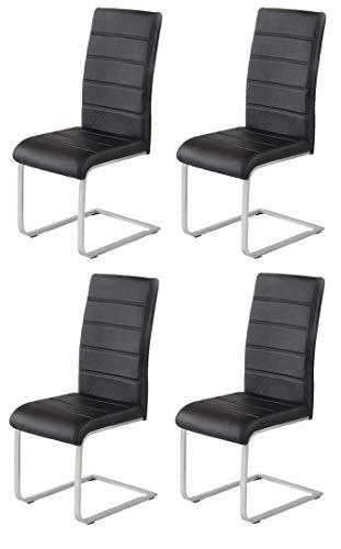 agionda 4 x Freischwinger Stuhl JAN PIET Kunstleder schwarz 120 kg belastbar