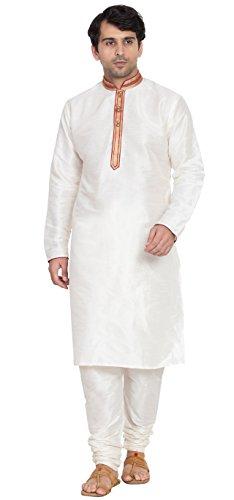 (Langärmliges Hemd Mens Kurta Pyjama Set handgefertigtes traditionelles indisches Kostüm Offwhite)